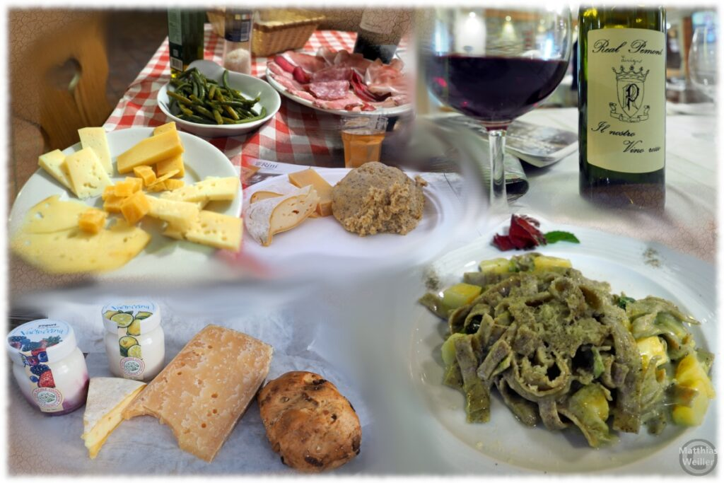Spezialitäten-Mix aus dem Valtelllina (Käse, Pasta, Joghurt, Polenta, Wein, Bohnen, Rauchfleisch, Schinken)