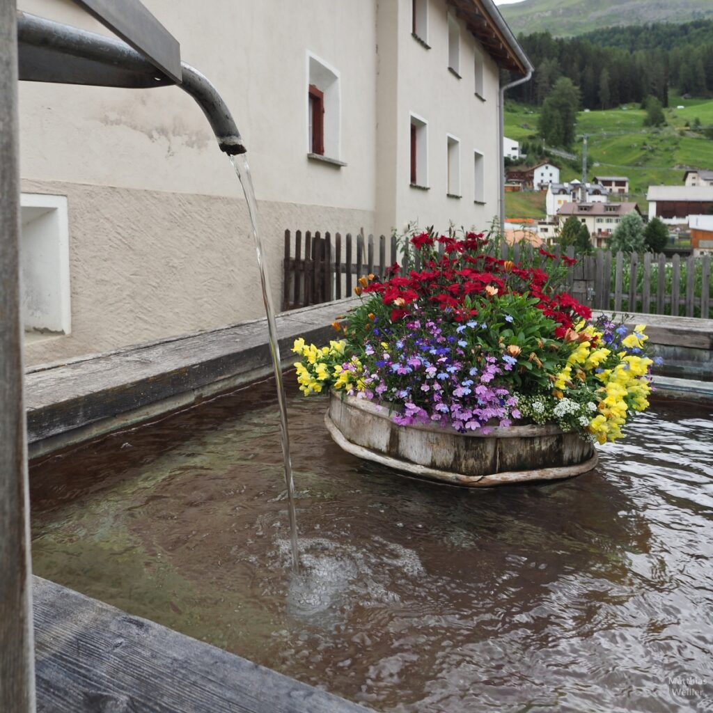 Brunnenausfluß mit Blumenbouquet
