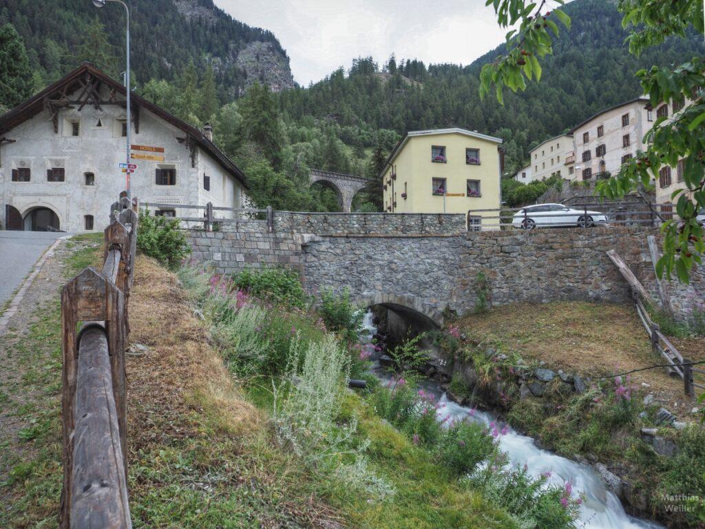 Bergbach mit Häusern, Froschperspektive, Lavin