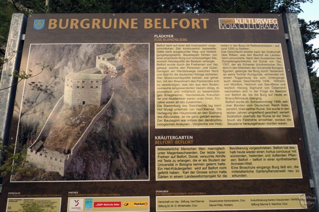 Infotafel Burgruine Belfort