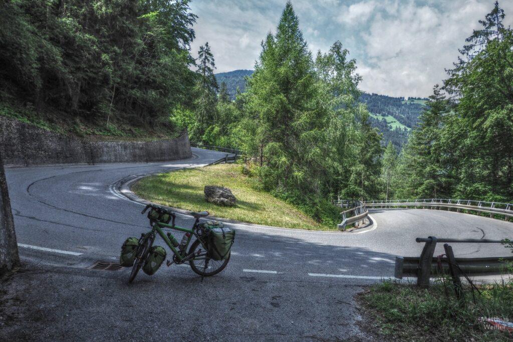 Grünes Reisevelo in Spitzkehre mit Lärchen