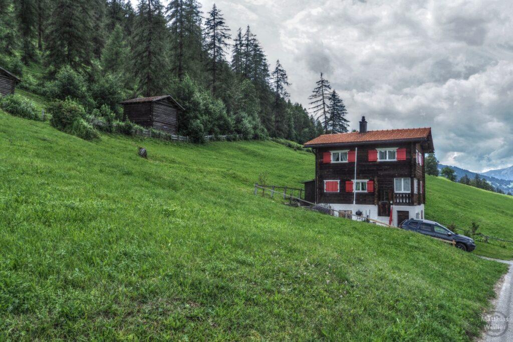 Berghaus dunkelbraun/rote Läden an grünem Berghang