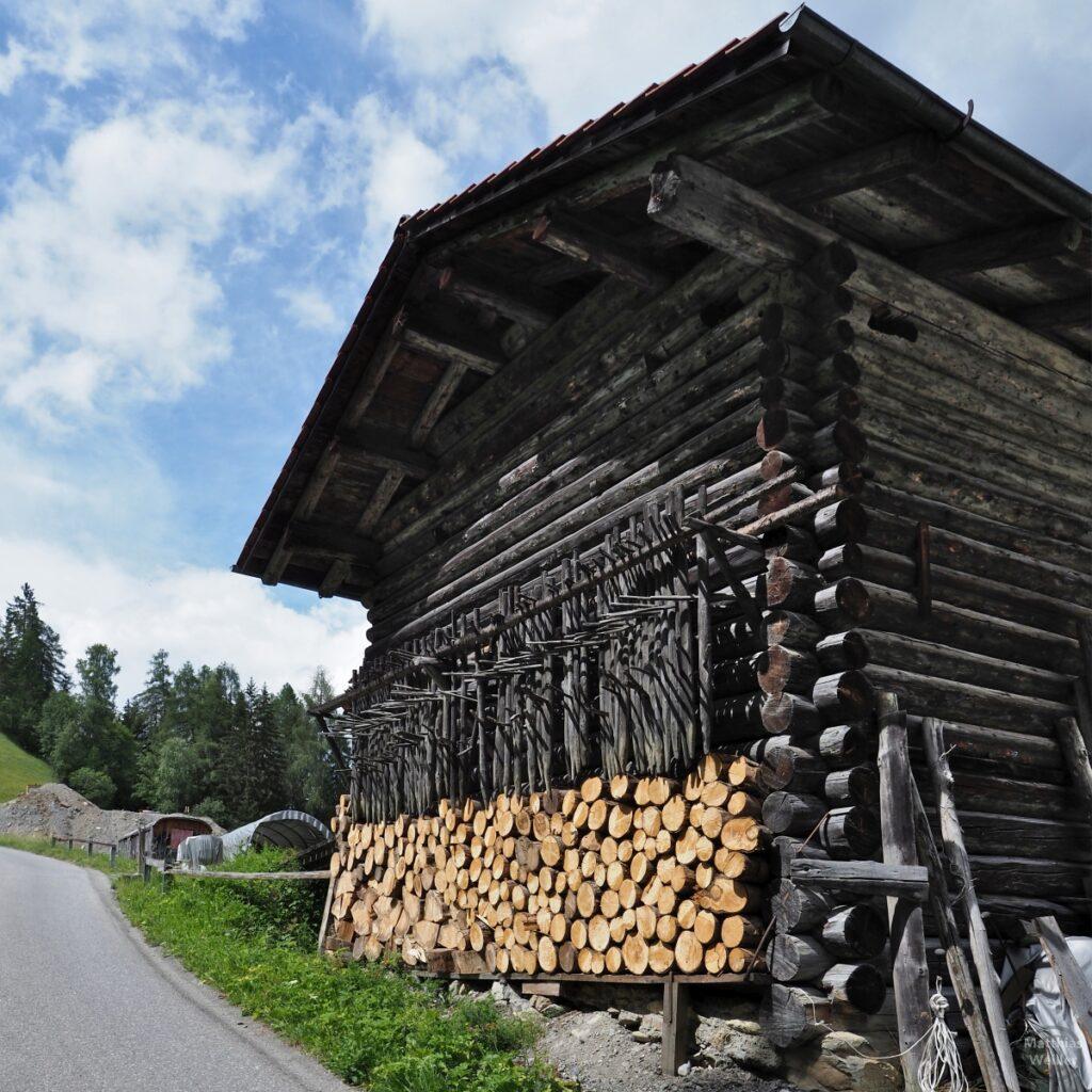 Holzhütte mit Holzsensen und Brennvorrat