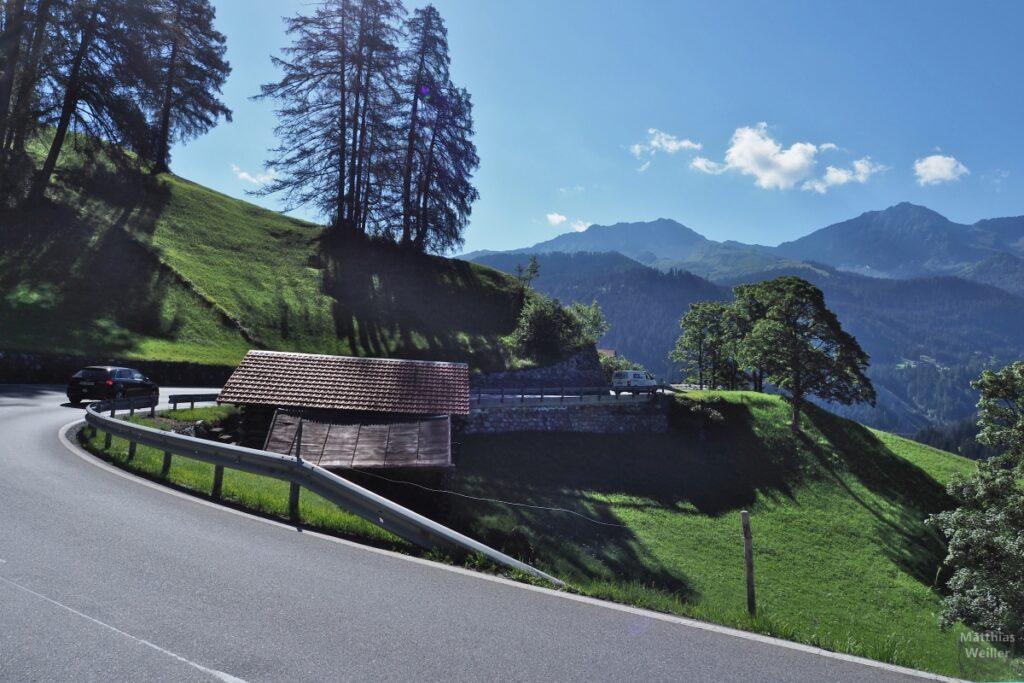 Kurve im grünen Berghang