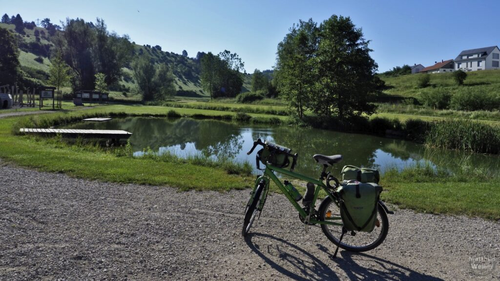 Teich/Badesteg mit grünem Reisevelo