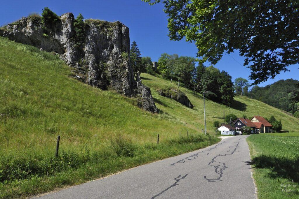 Felsblock am Wiesenhang neben Straße mit zwei Häusern