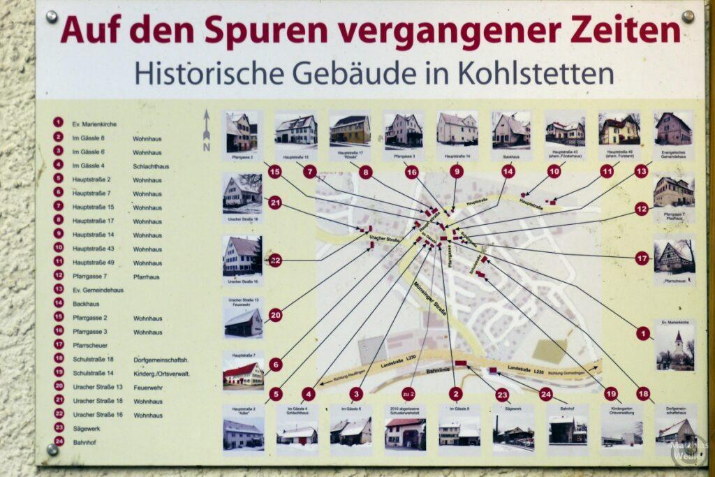 Sichttafel der historischen Gebäude in Kohlstetten