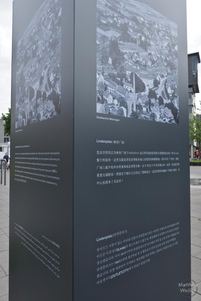 Touristische Infotafel Metzingen in Chinesisch und Russisch