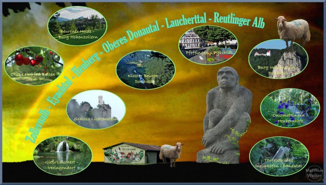 """Collage von Symbolbildern der Reise, Baisbild mit Regenbogen, Neandertaler, 9 ovale Bildausschnitte, Titel """"Zollernalb - Eyachtal - Heuberg - Oberes Donautal - Laucherttal - Reutlinger Alb"""""""