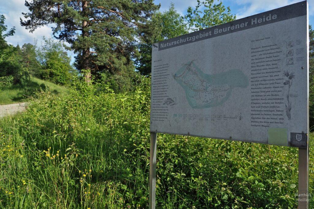 "Landschaft mit Infotafel ""Naturschutzgebiet Beurener Heide"""