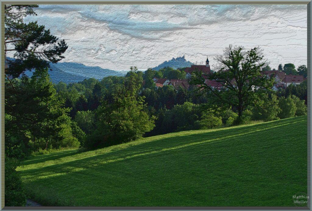 Stilisiertes Bild mit Dorf Beuren, Burg Hohenzollern im Hintergrund