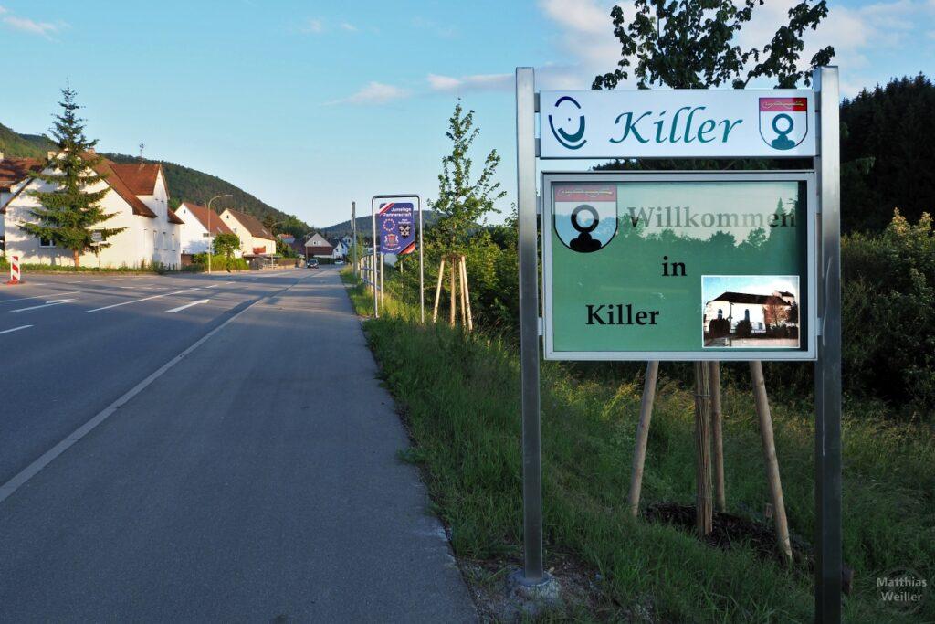 """Orstschild """"Killer - Willkommen in Killer"""" mit Straßen-, Ortsflucht"""