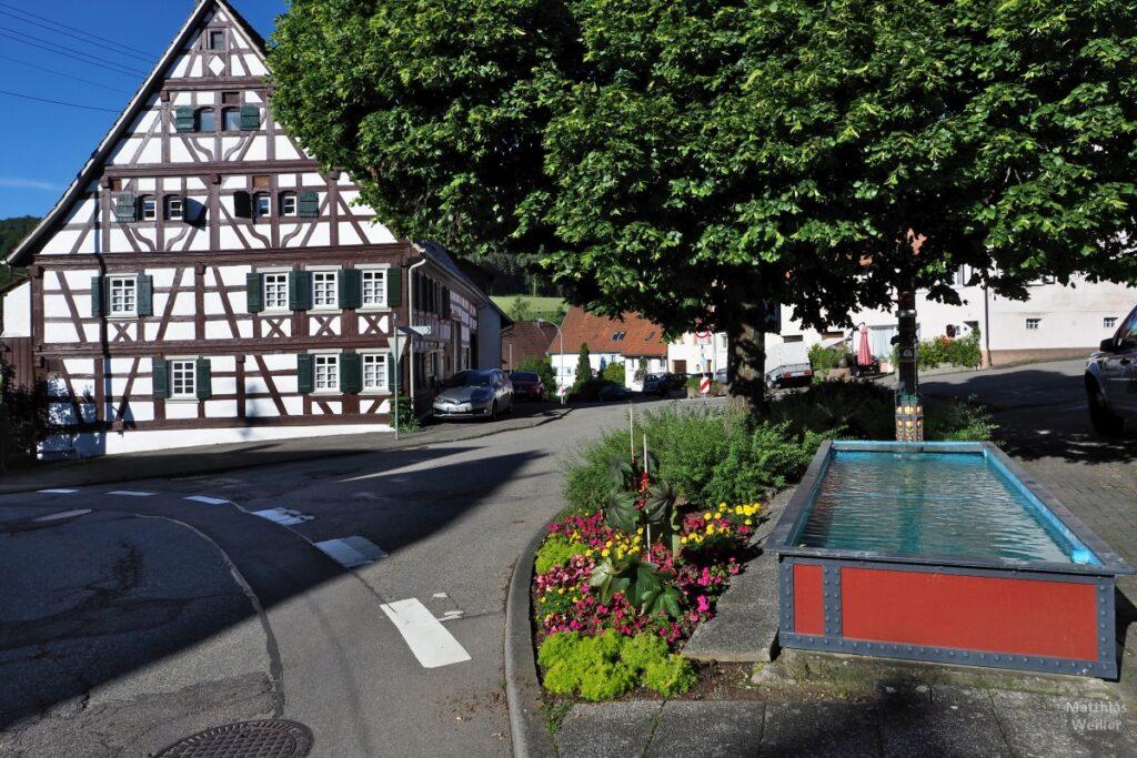 Fachwerkhaus mit Brunnen rot/blau, Lindenbaum, Pfeffingen