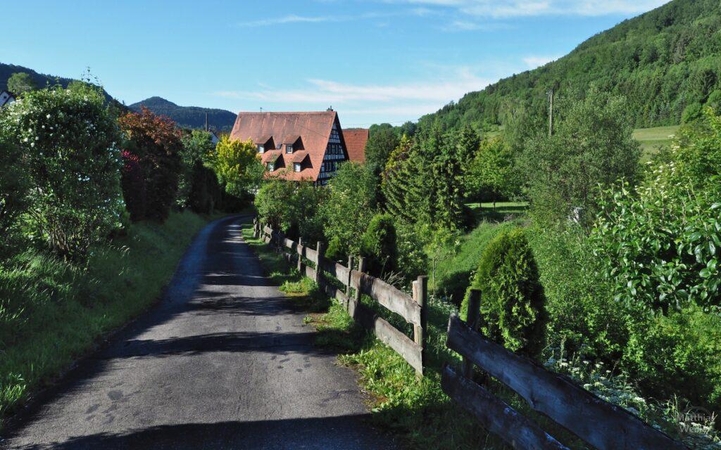 Gartenweg mit Fachwerkhaus in der Flucht, Talaue