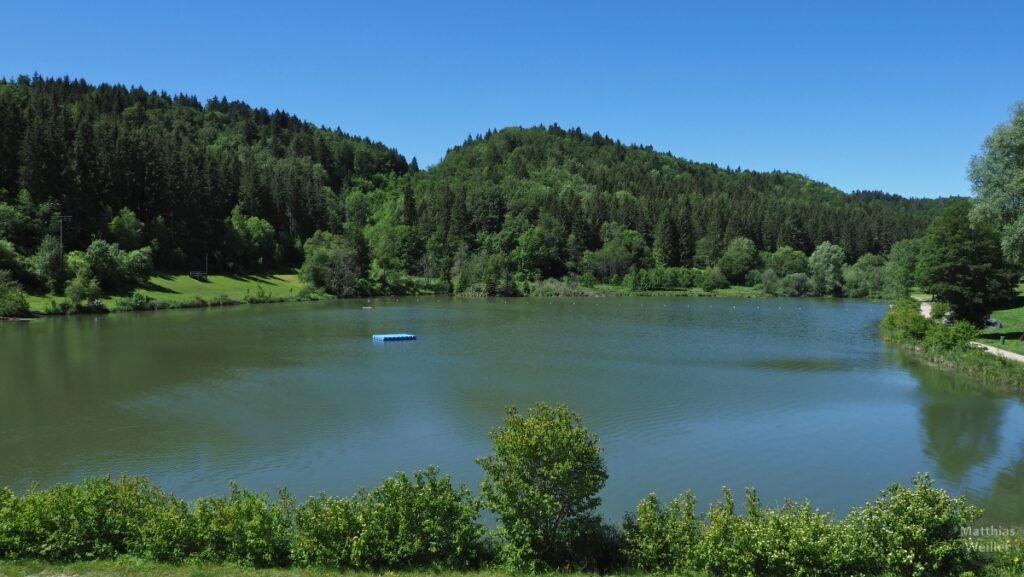 Stausee Kohlstatt-Brunnenbach mit blauer Badeinsel