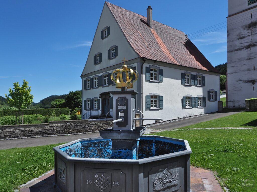 Brunnen mit Goldkrone vor Giebelhaus, Egesheim
