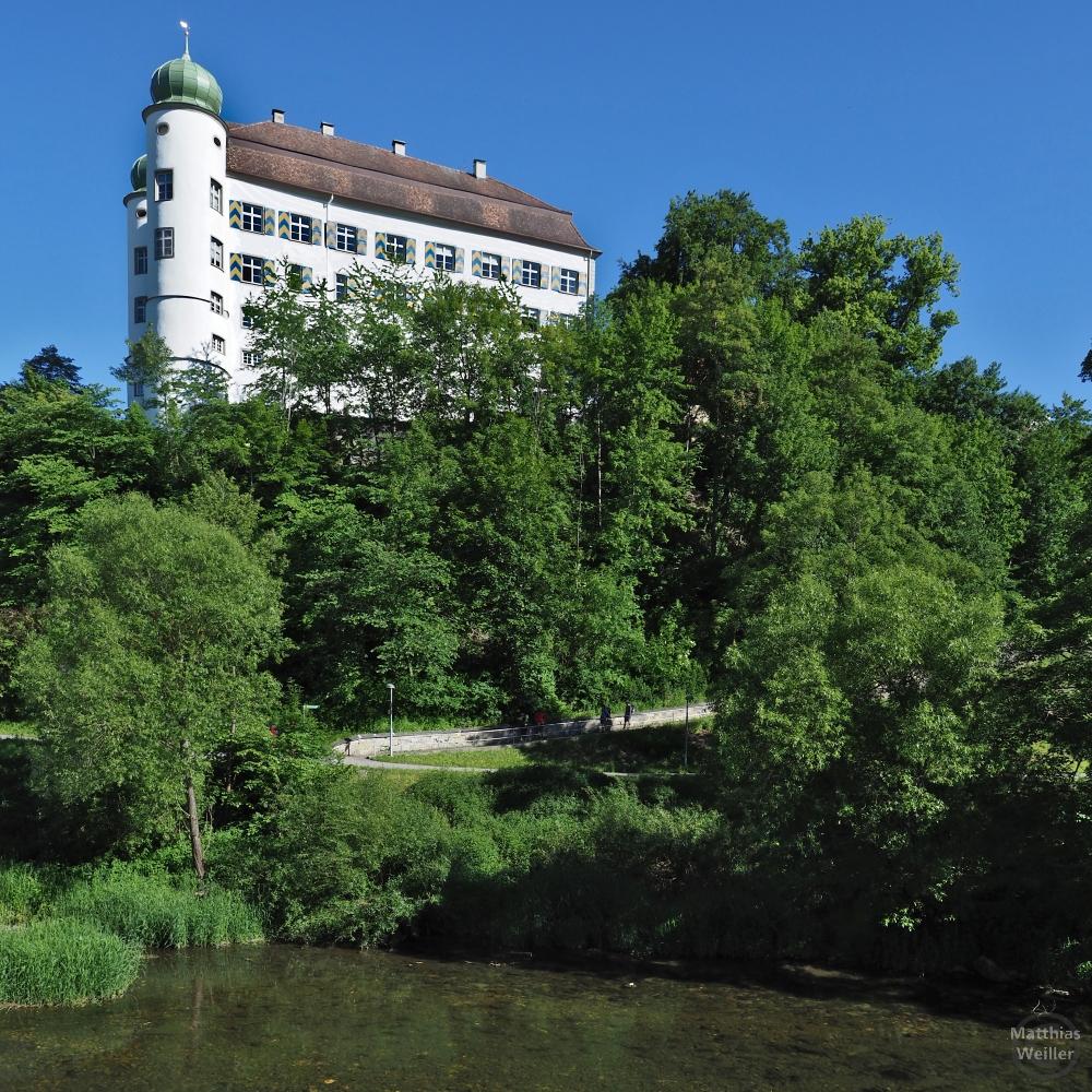 Schloss Mühlheim mit Doppeltürmen aus Froschperspektive
