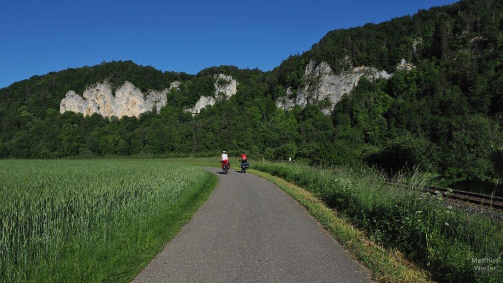 Donauradweg mit Radlerpaar, Bahntrasse, Felskulisse