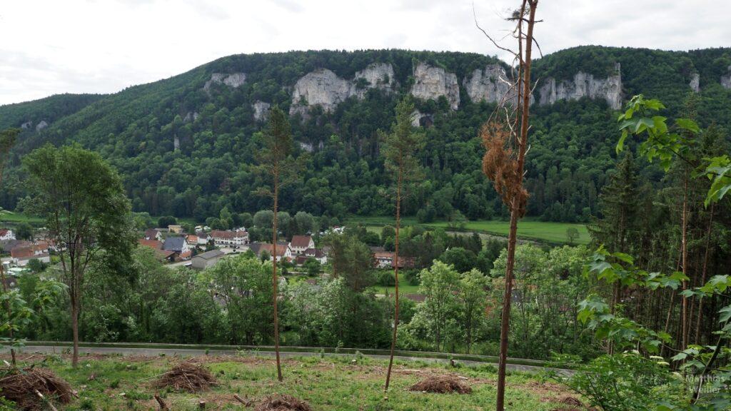 Sicht auf Hausen im Tal, mit Donau und Felsfront gegenüber