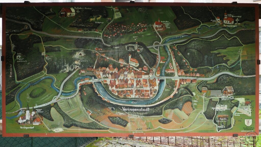 Bildlische Kartendarstellung von Veringenstadt von oben