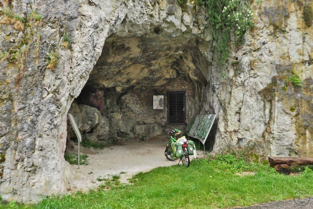 Höhle mit grünem Reisevelo, Infotafeln und Bärenskulptur