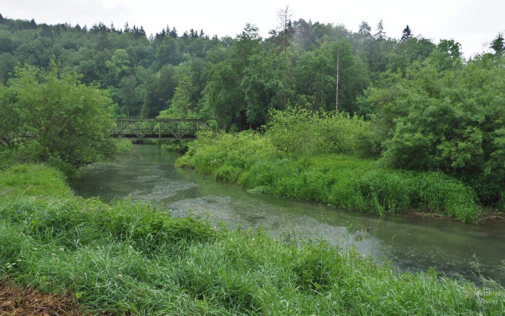 Lauchert im Regen mit grün wuchernden Ufern, Eisenbahnbrücke mit Querstreben