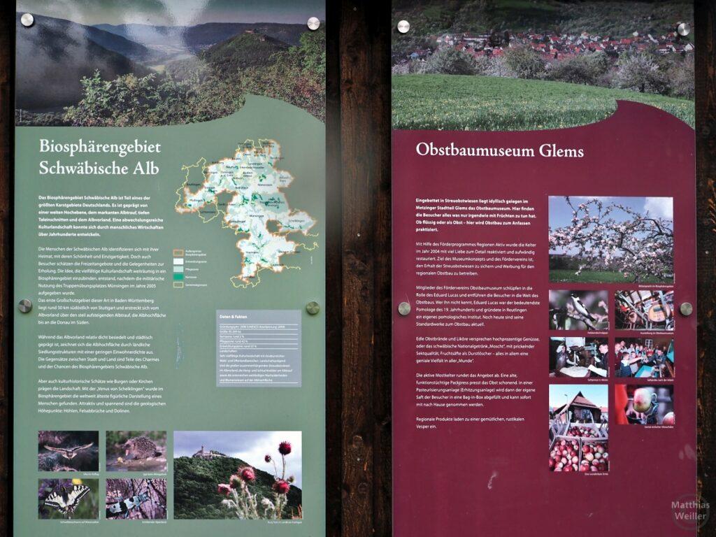"""Infotafeln zu """"Biosphärengebiet Schwäbische Alb"""" und """"Obstbaumuseum Glems"""""""